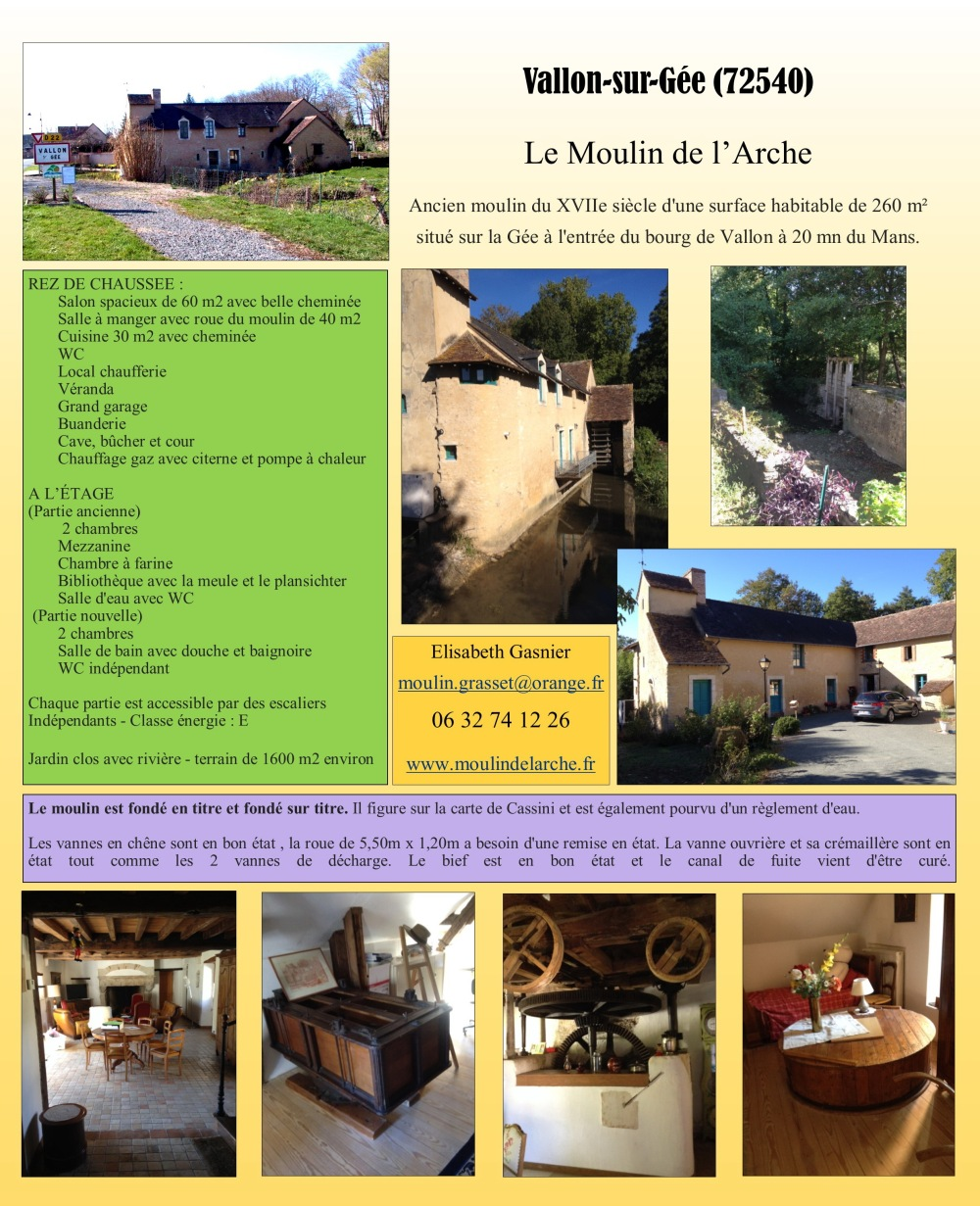 A vendre moulin de l'Arche- Vallon sur Gée