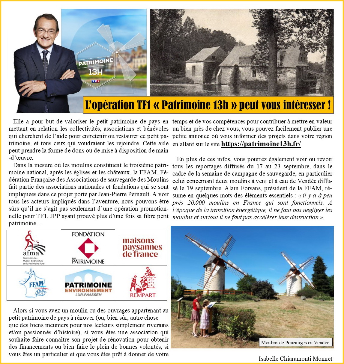 Article TF1 patrimoine 13h