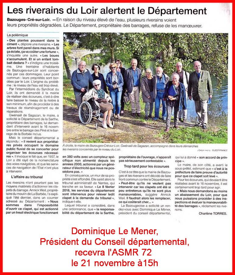 Les riverains u Loir alertent le Département - Le Mener les reçoit le 21 novembre 18
