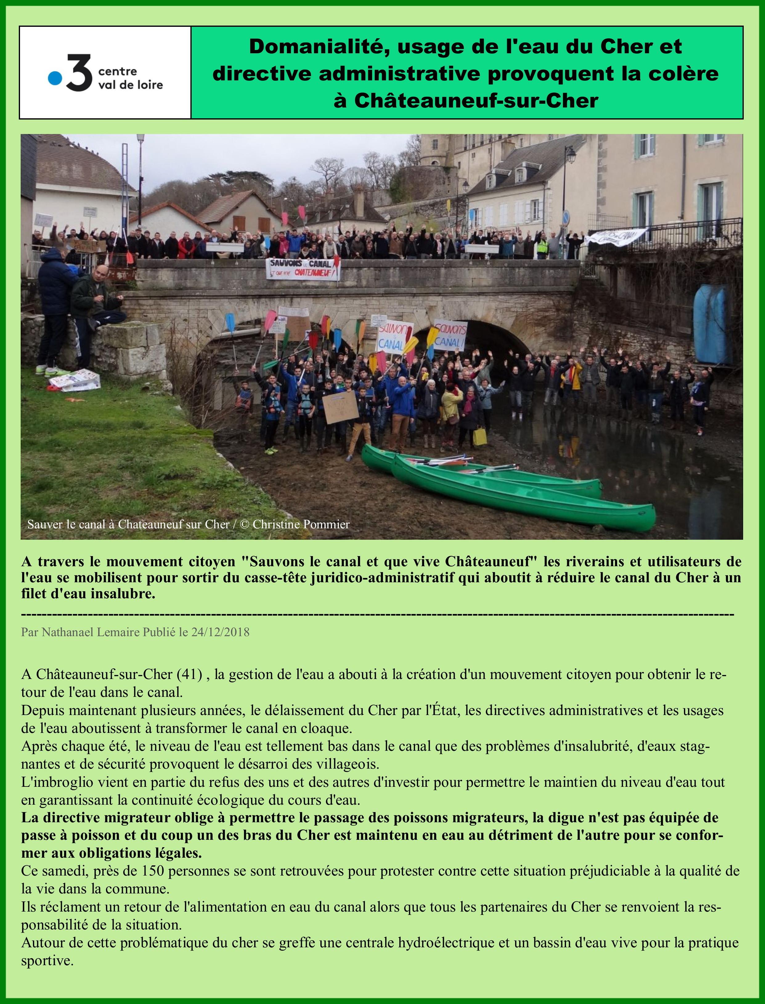 Canal Chateauneuf sur Cher à sec