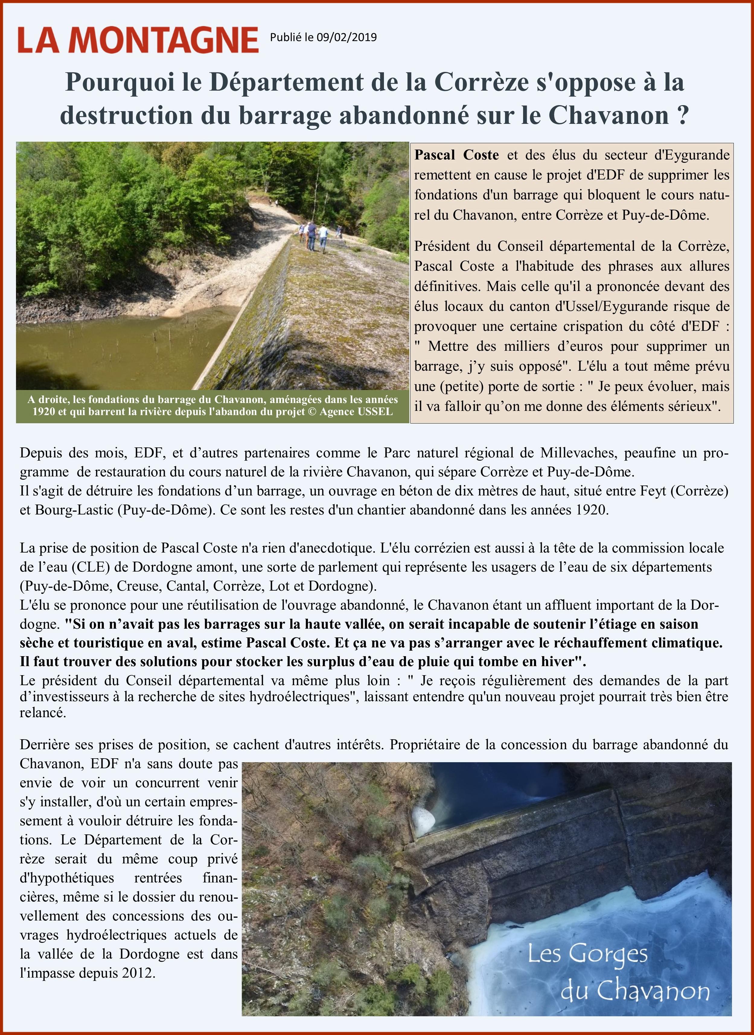 Barrage de Chavanon en Corrèze