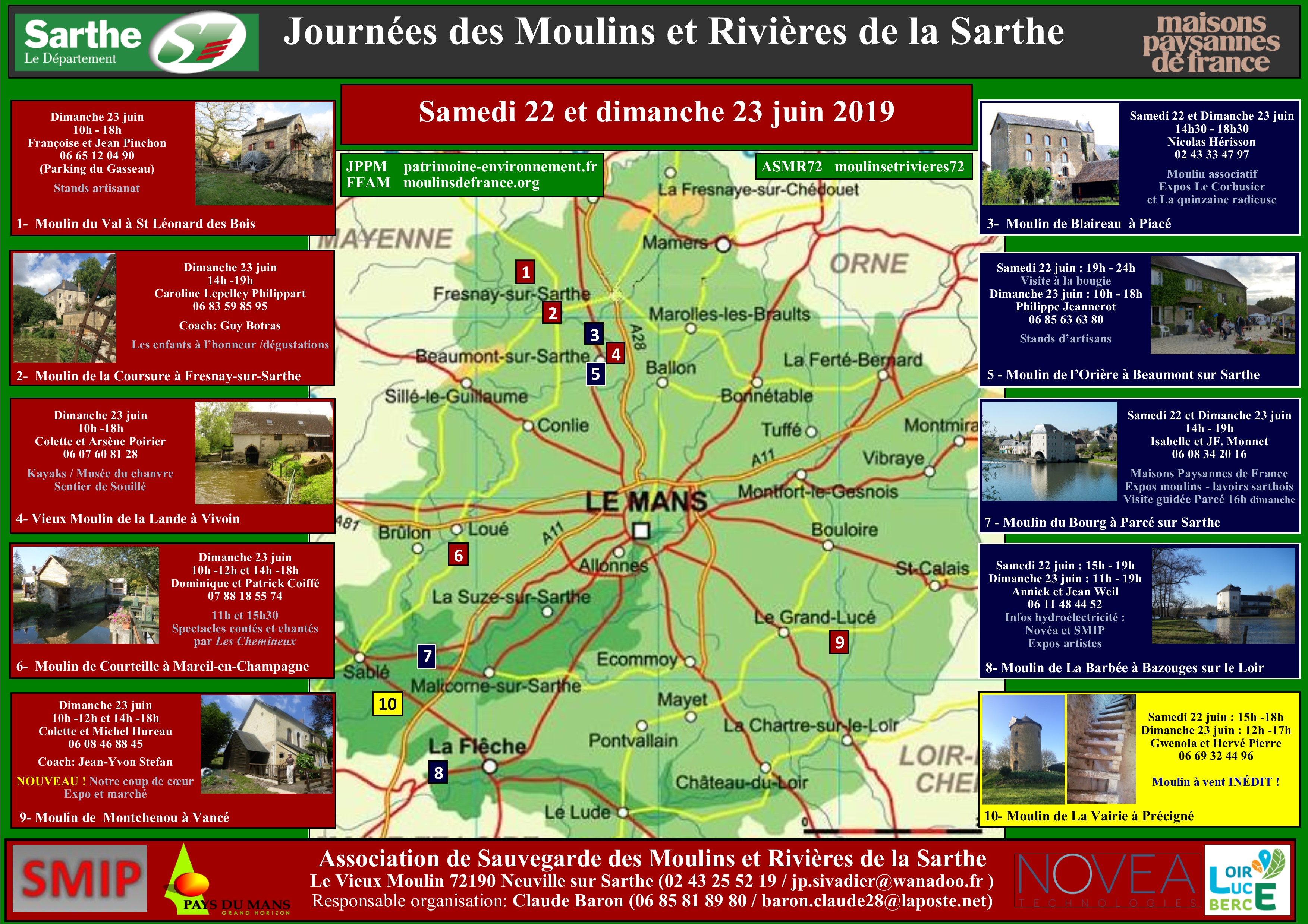 Affiche Journées des Moulins ASMR72 - 2019