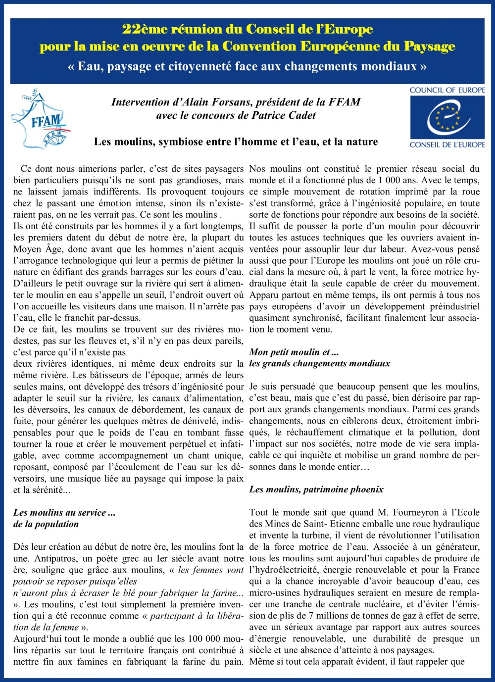 Discours Alain Forsans Conseil de l'Europe page 1