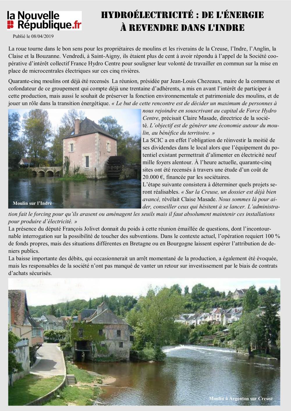 Hydroélectrcité dans l'Indre