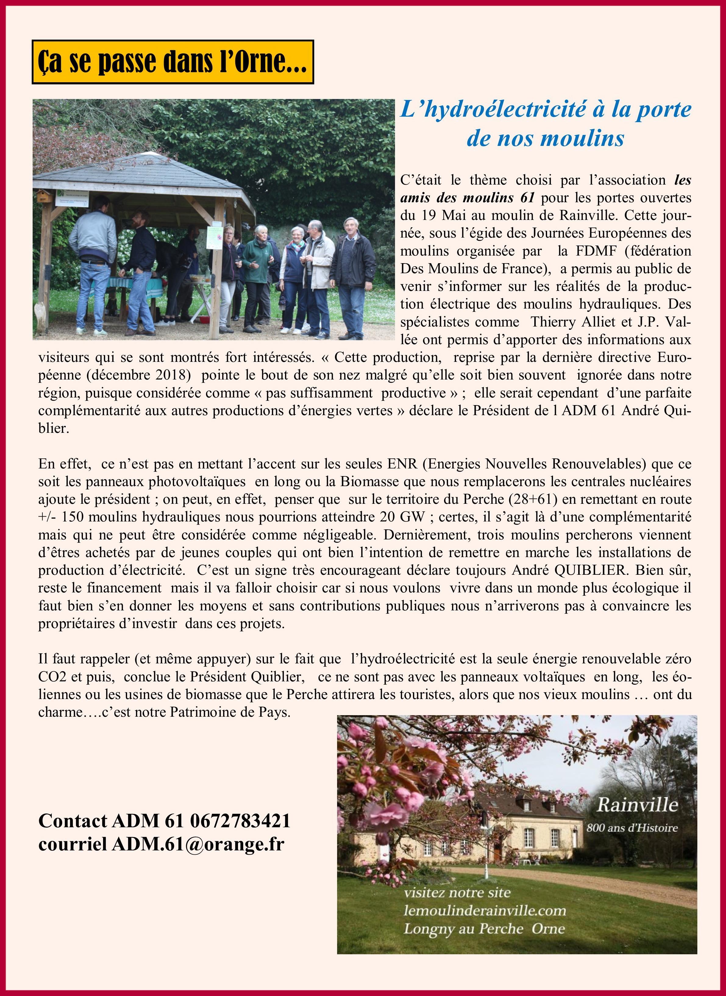 Rencontre Hydroélectricité dans l'Orne