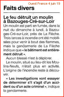 incendie moulin neuf Bazouges