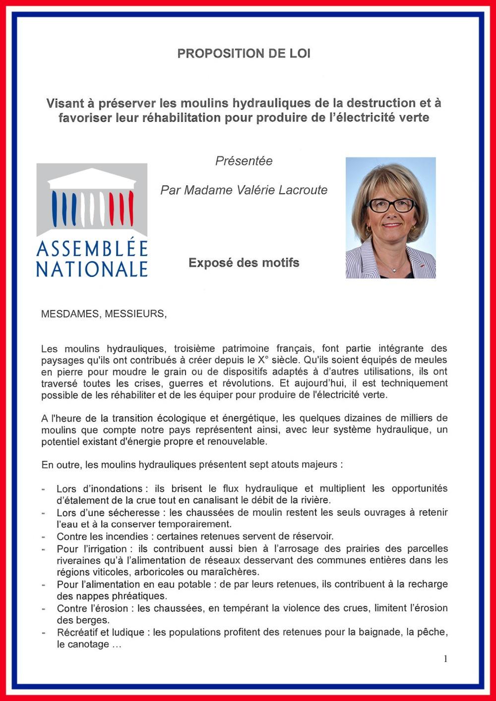 Proposition loi V. Lacroute page 1