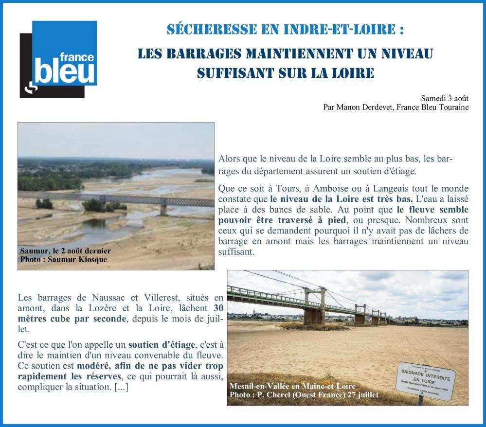 Barrages utiles en Indre et Loire