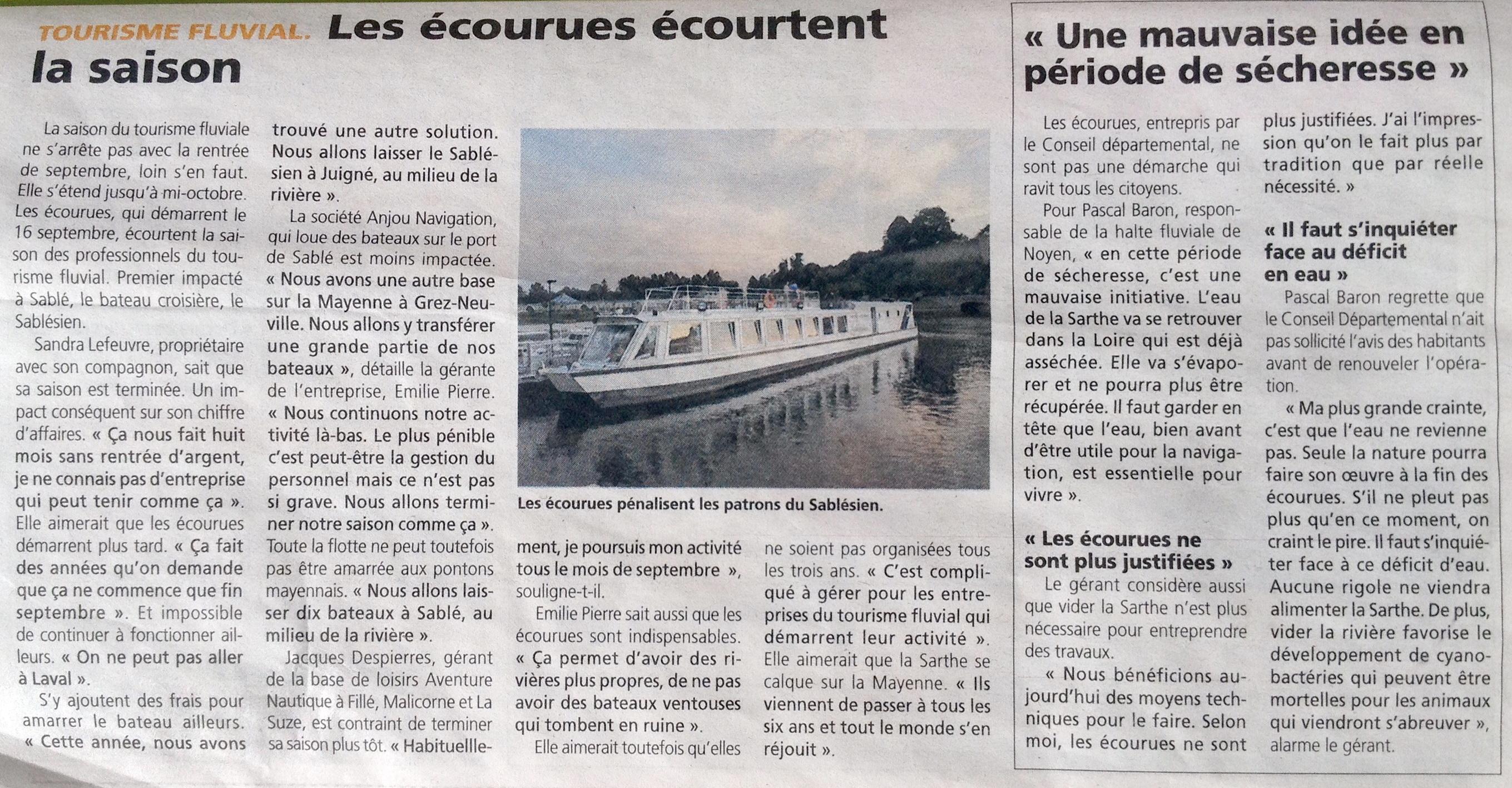 Écourues et tourisme fluvial