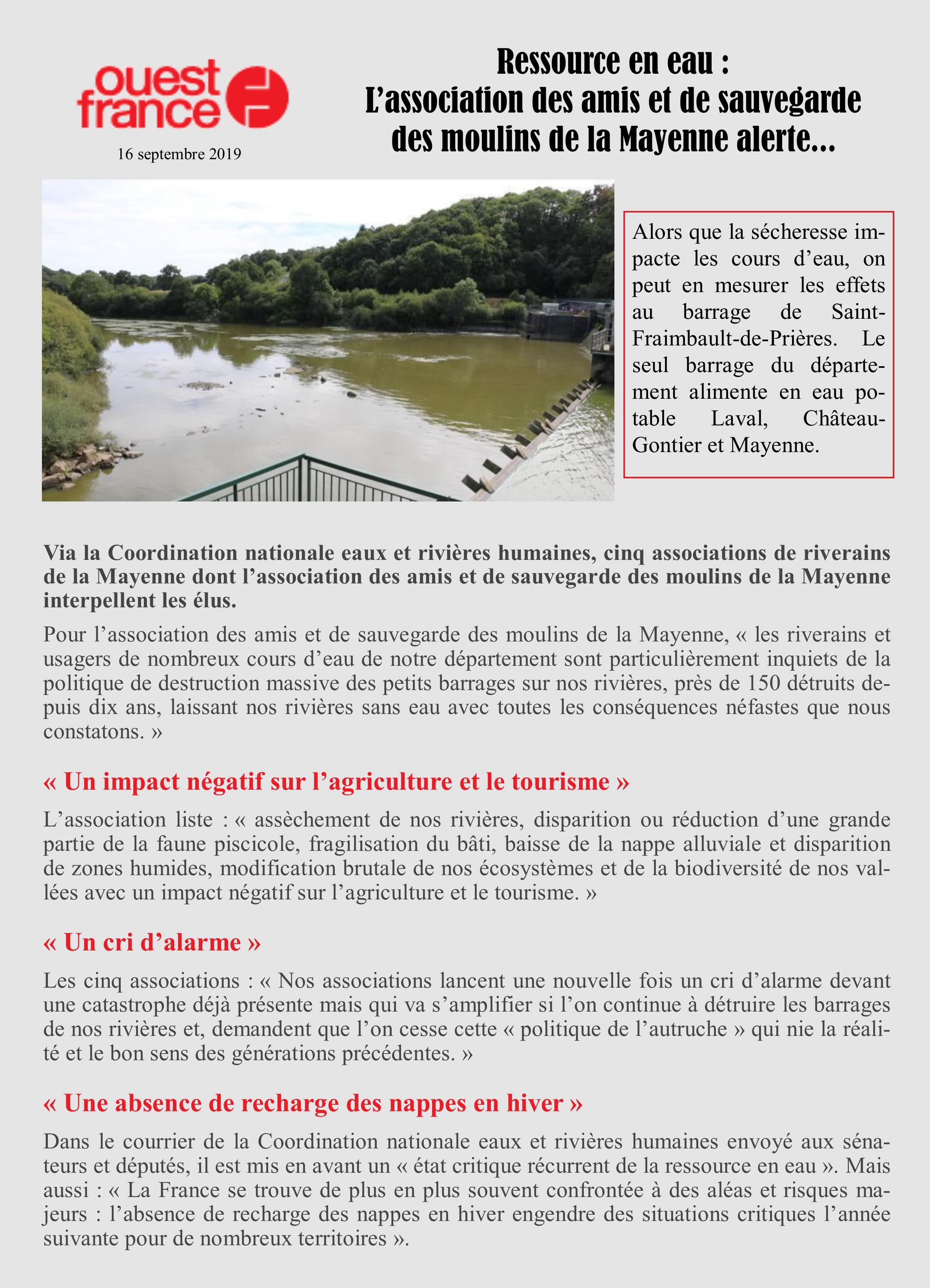 Mayenne - barrage de Saint Fraimbault de Prières