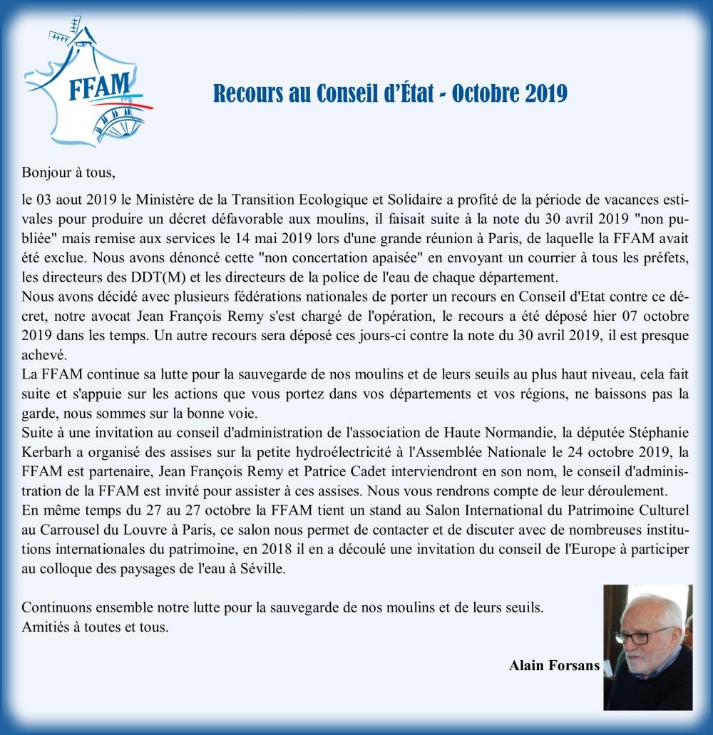 Courrier A. Forsans requête Conseil d'État