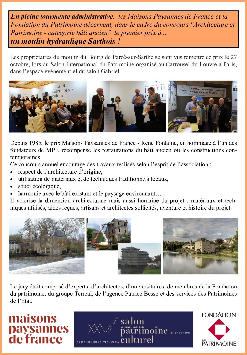 Prix MPF moulin de Parcé