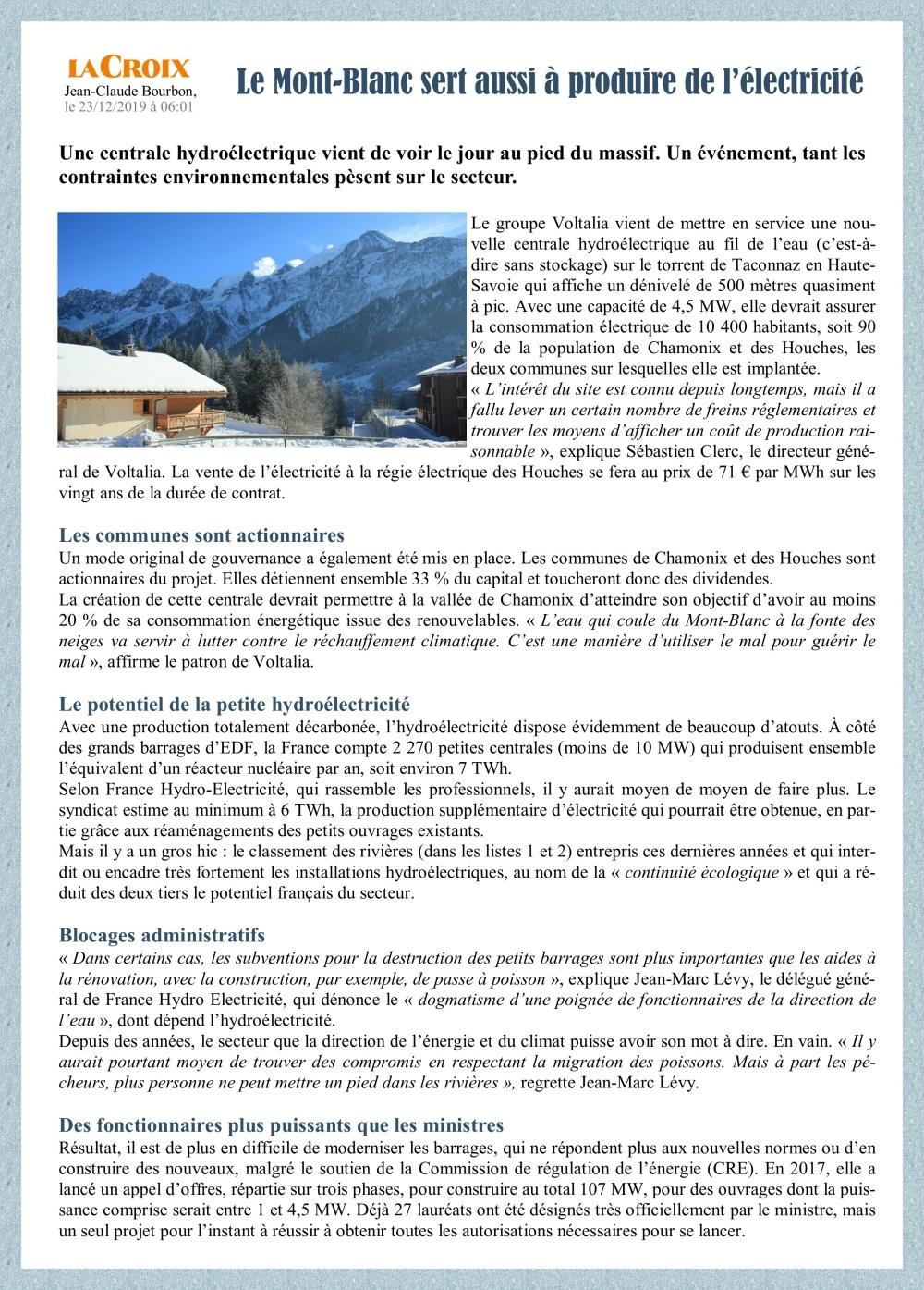 Centrale hydro sur le Mont-Blanc