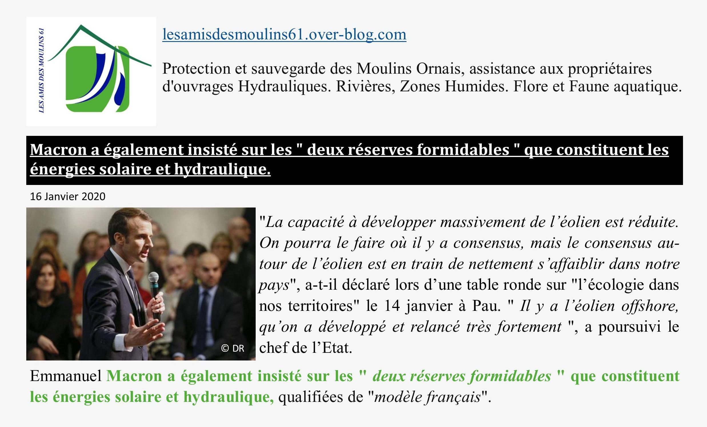 Macron OK hydro 16 janvier