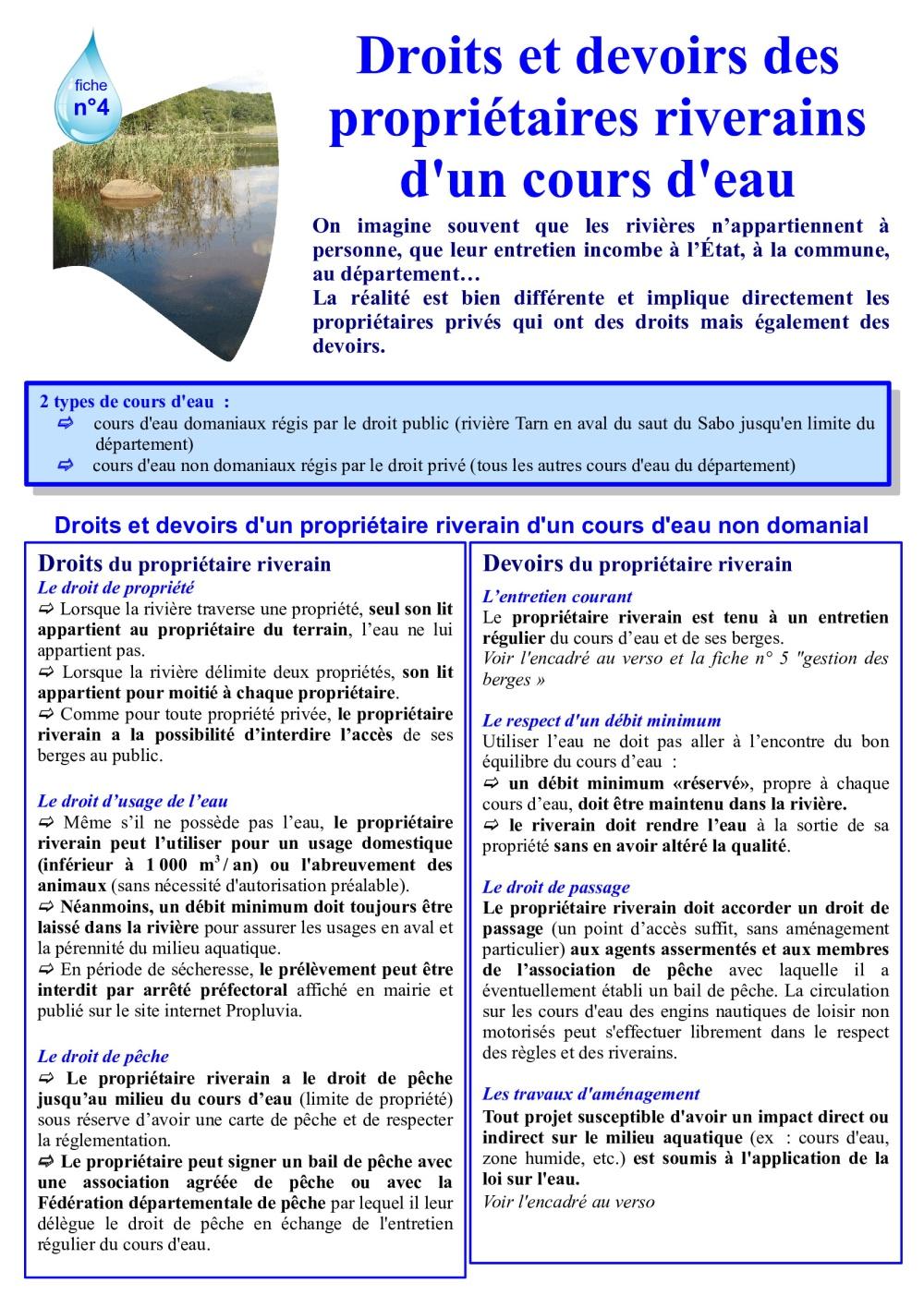 Droits et devoirs des propriétaires riverains-1