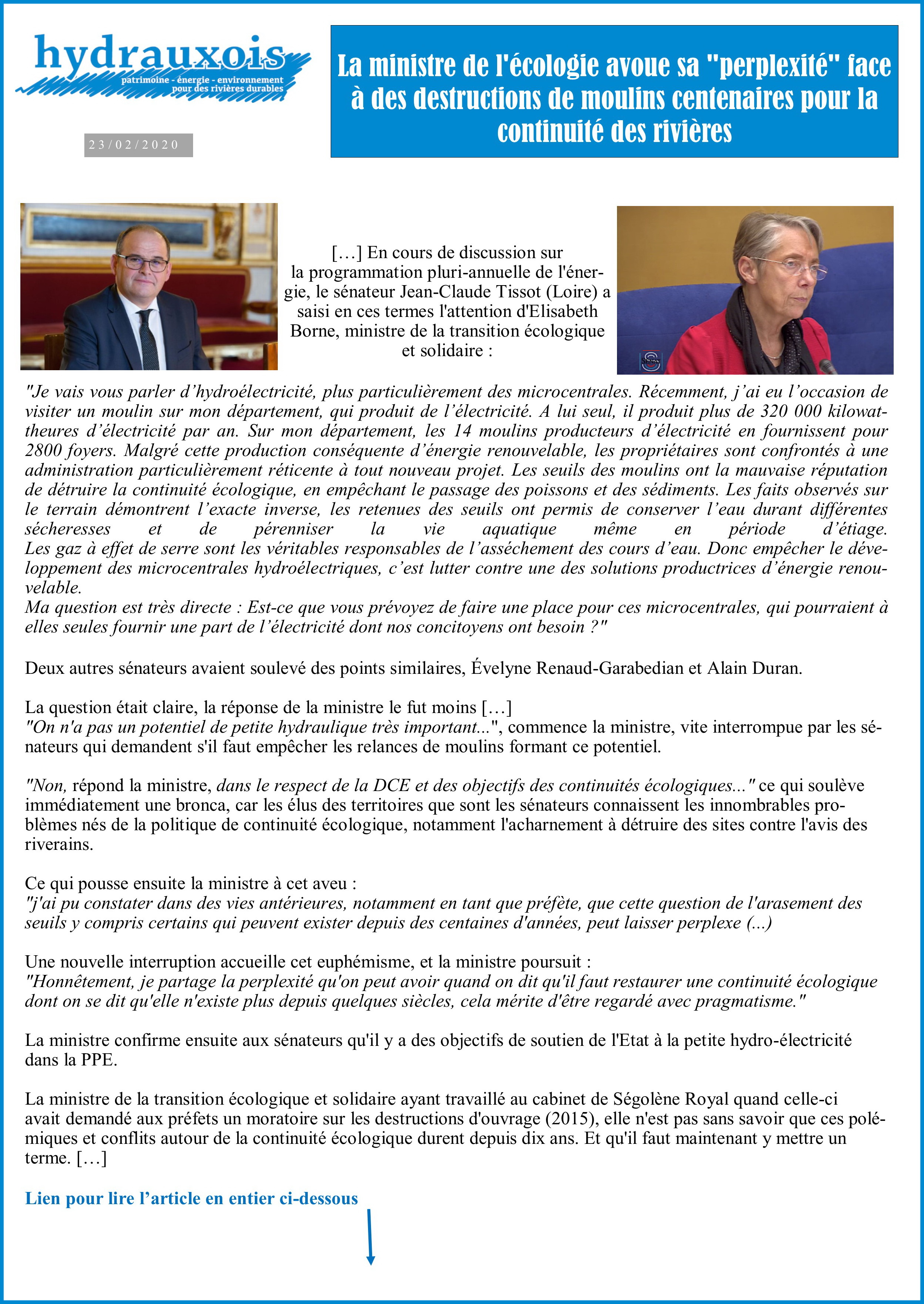 Sénateur JC Tissot interroge E. Borne