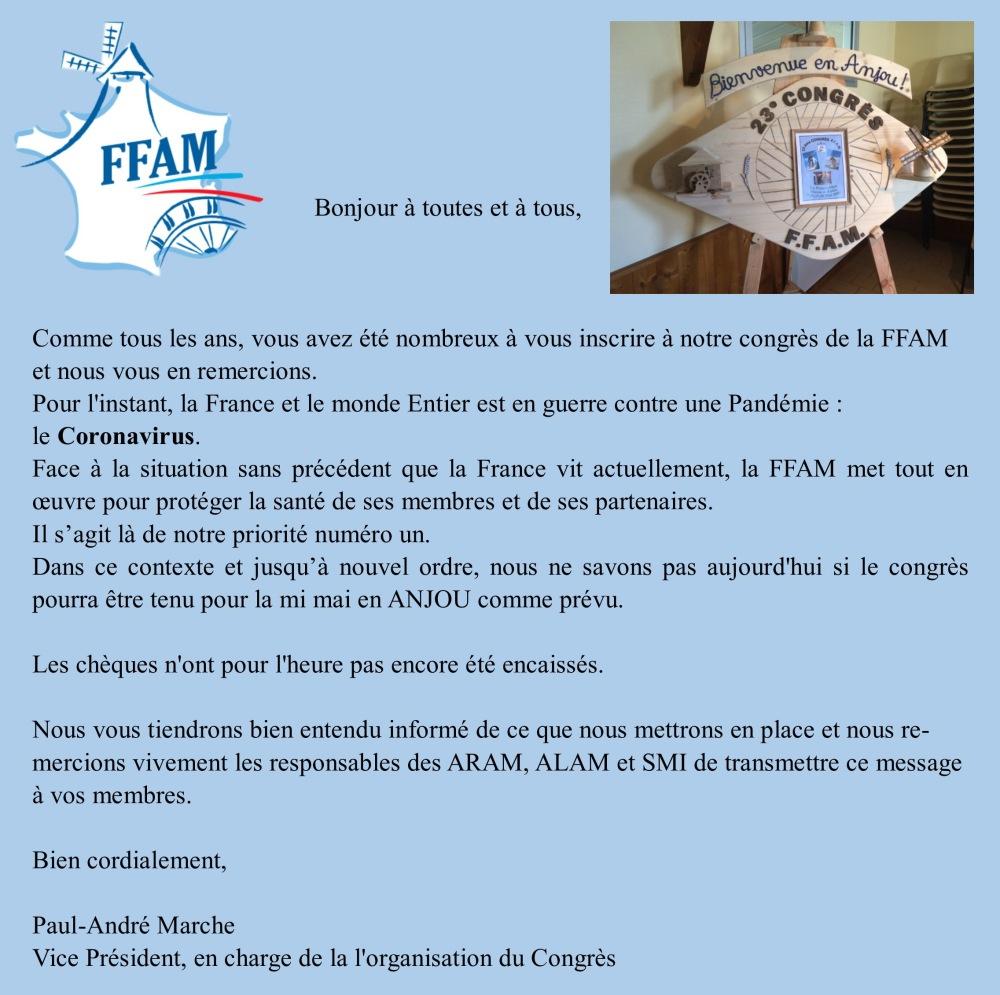 Annulation congrès FFAM