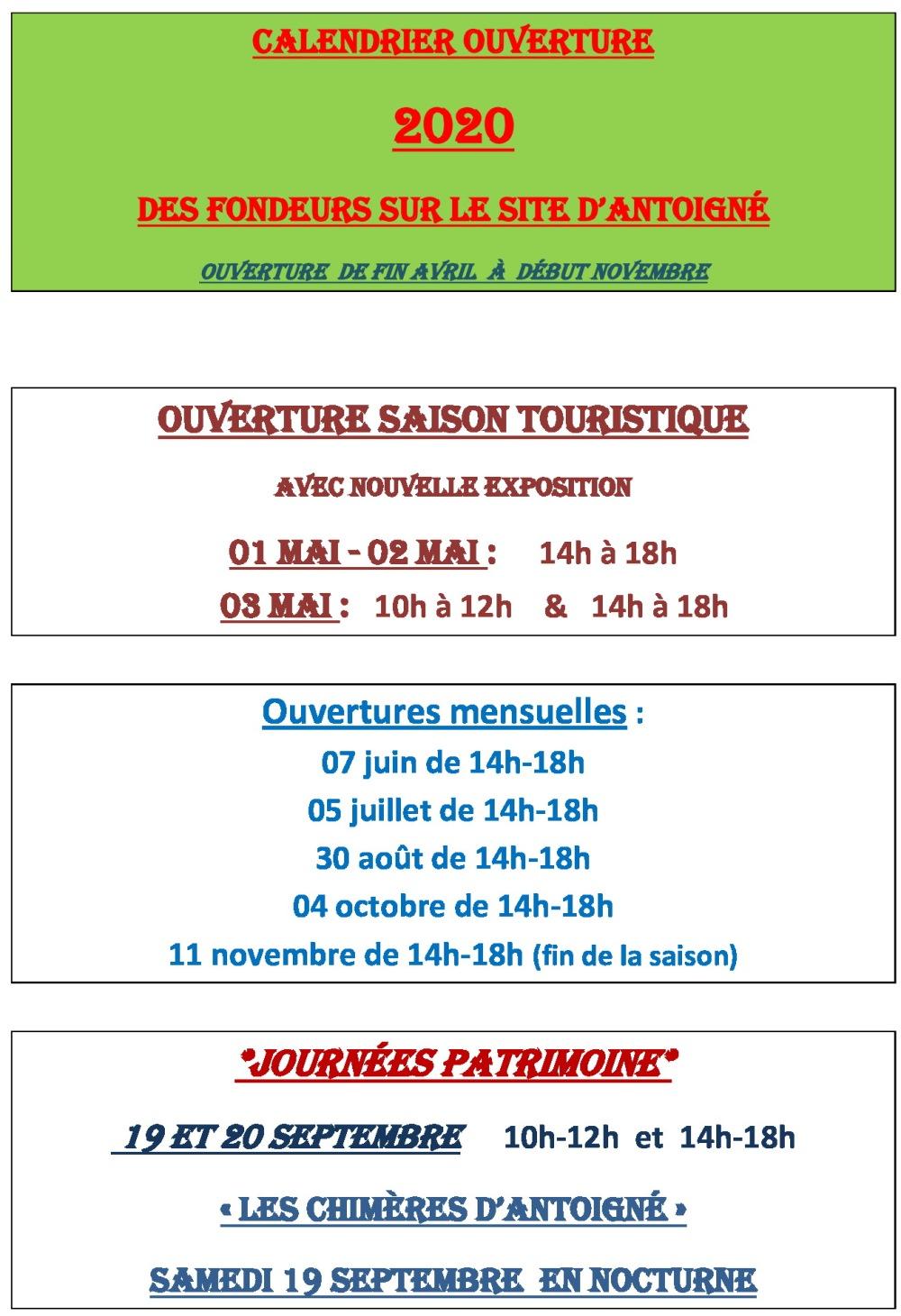 Fondeurs d'Antoigné CALENDRIER-OUVERTURE2020