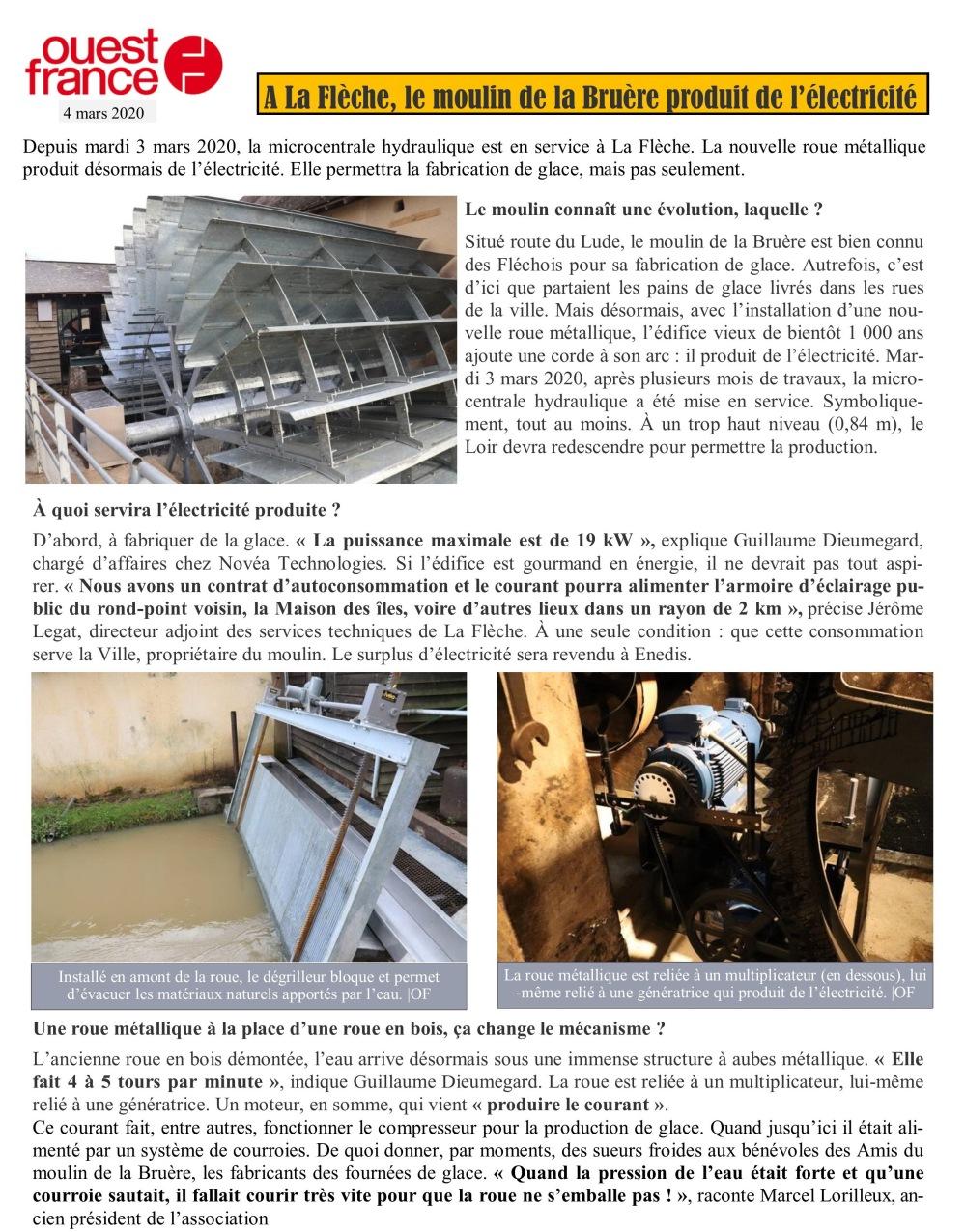 La Bruère Ouest France 3 mars 2020 page 1