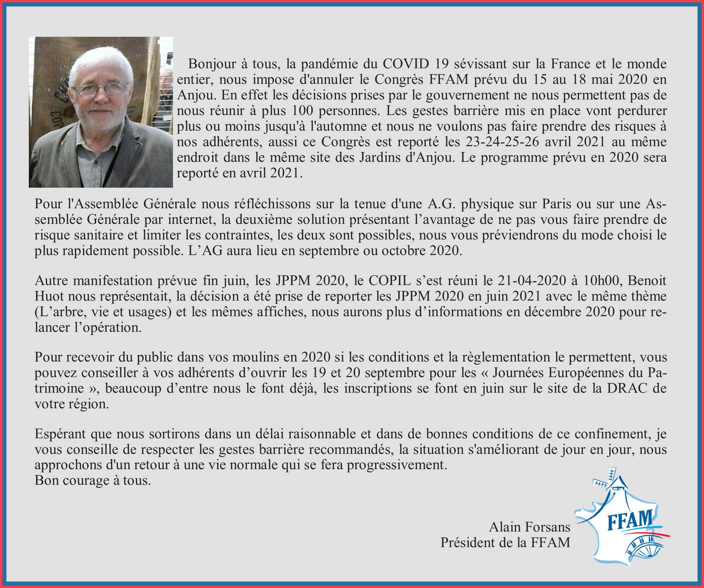 Courrier Alain Forsans annulations 2020