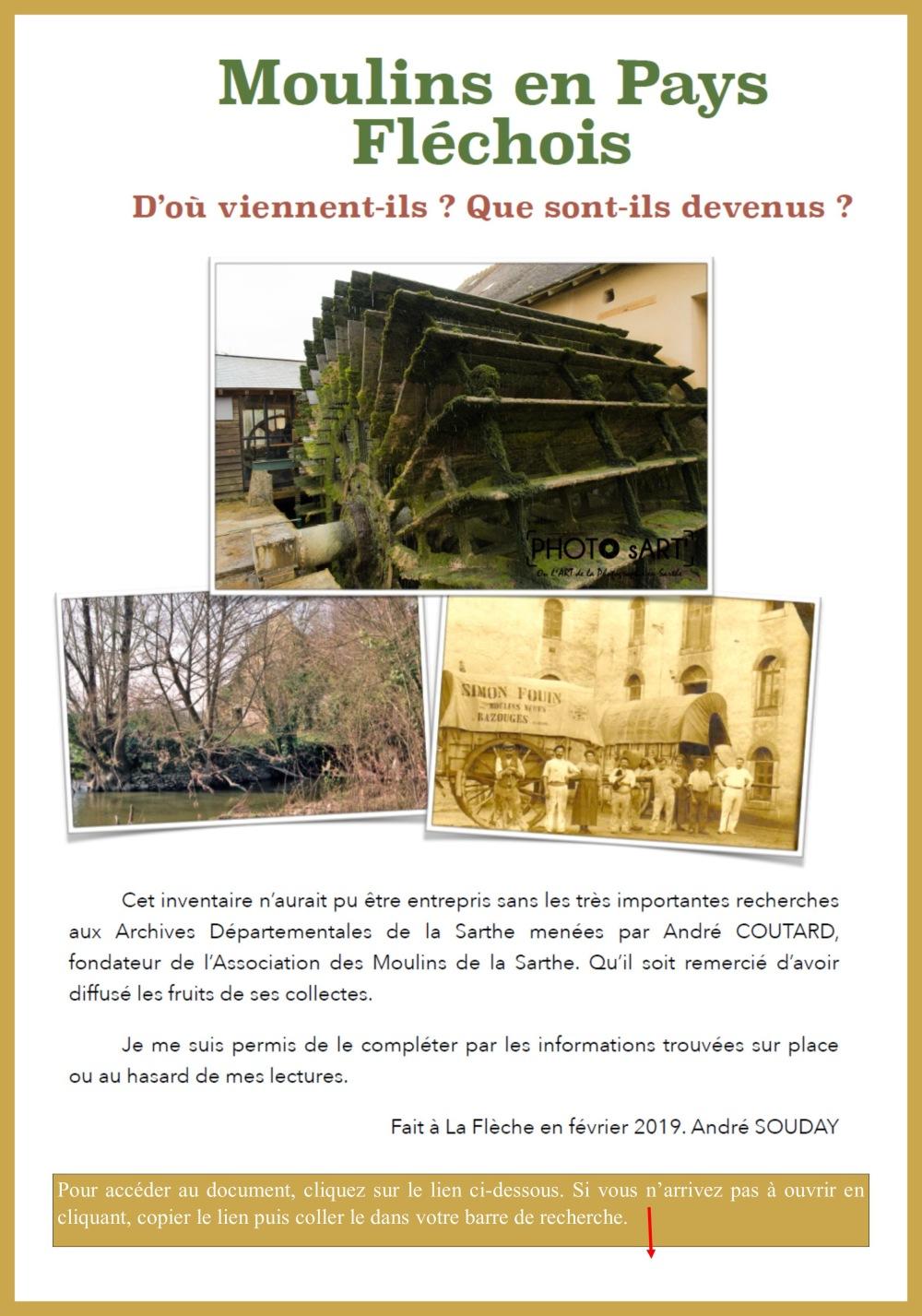 Moulins en Pays fléchois par André Souday