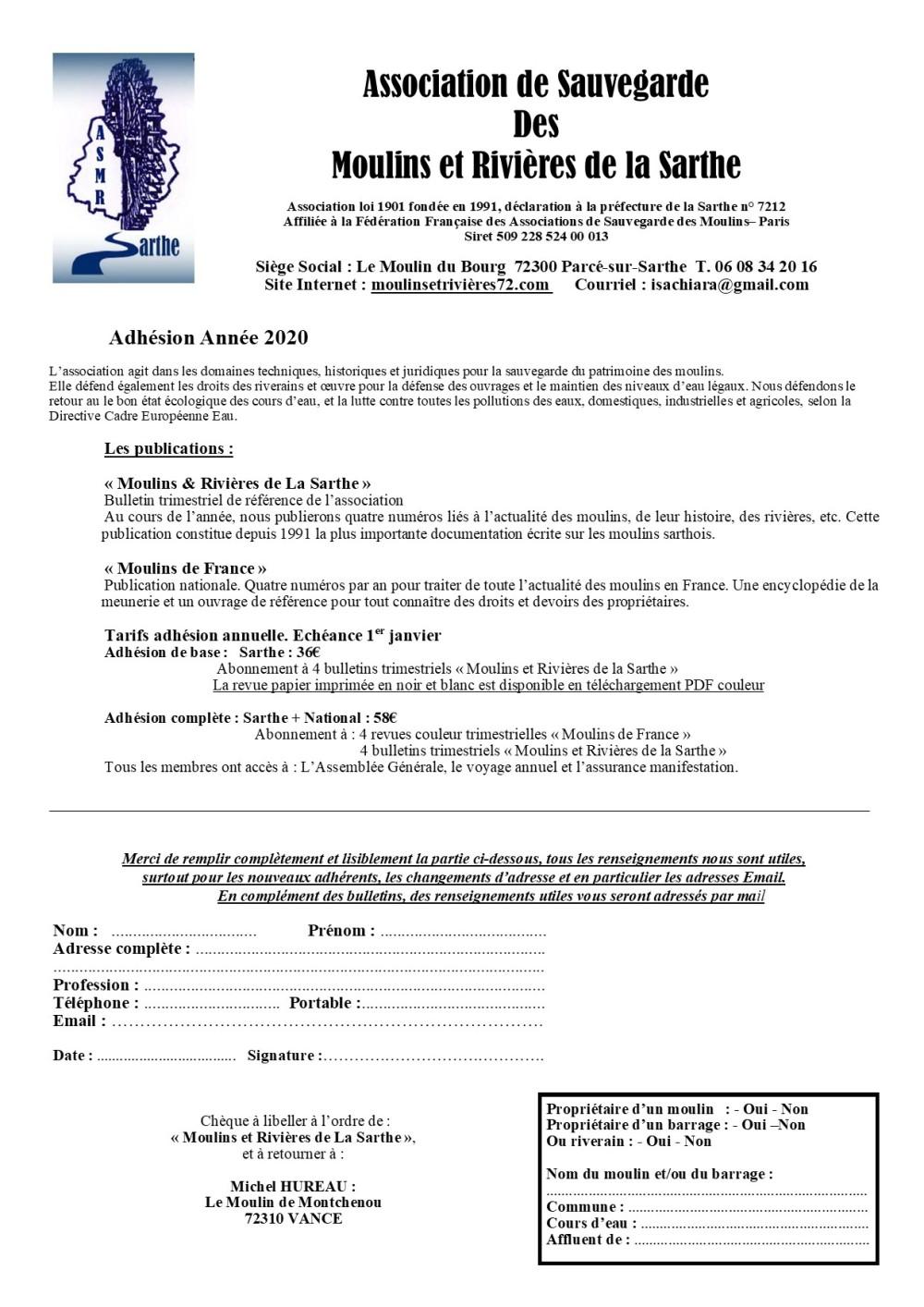 2020 Fiche Adhésion ASMR72 SANS RIB