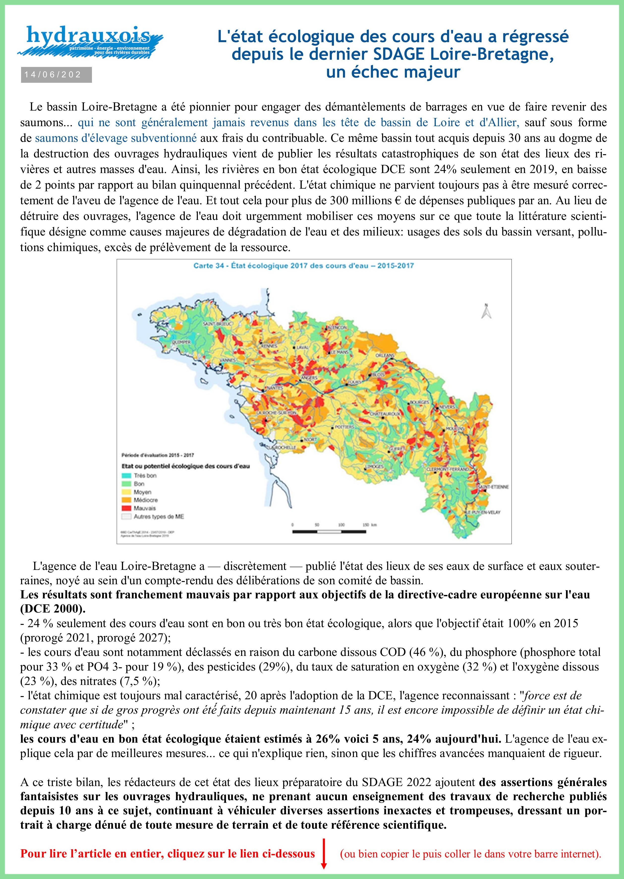 Régression qualité eau bassin Loire Bretagne