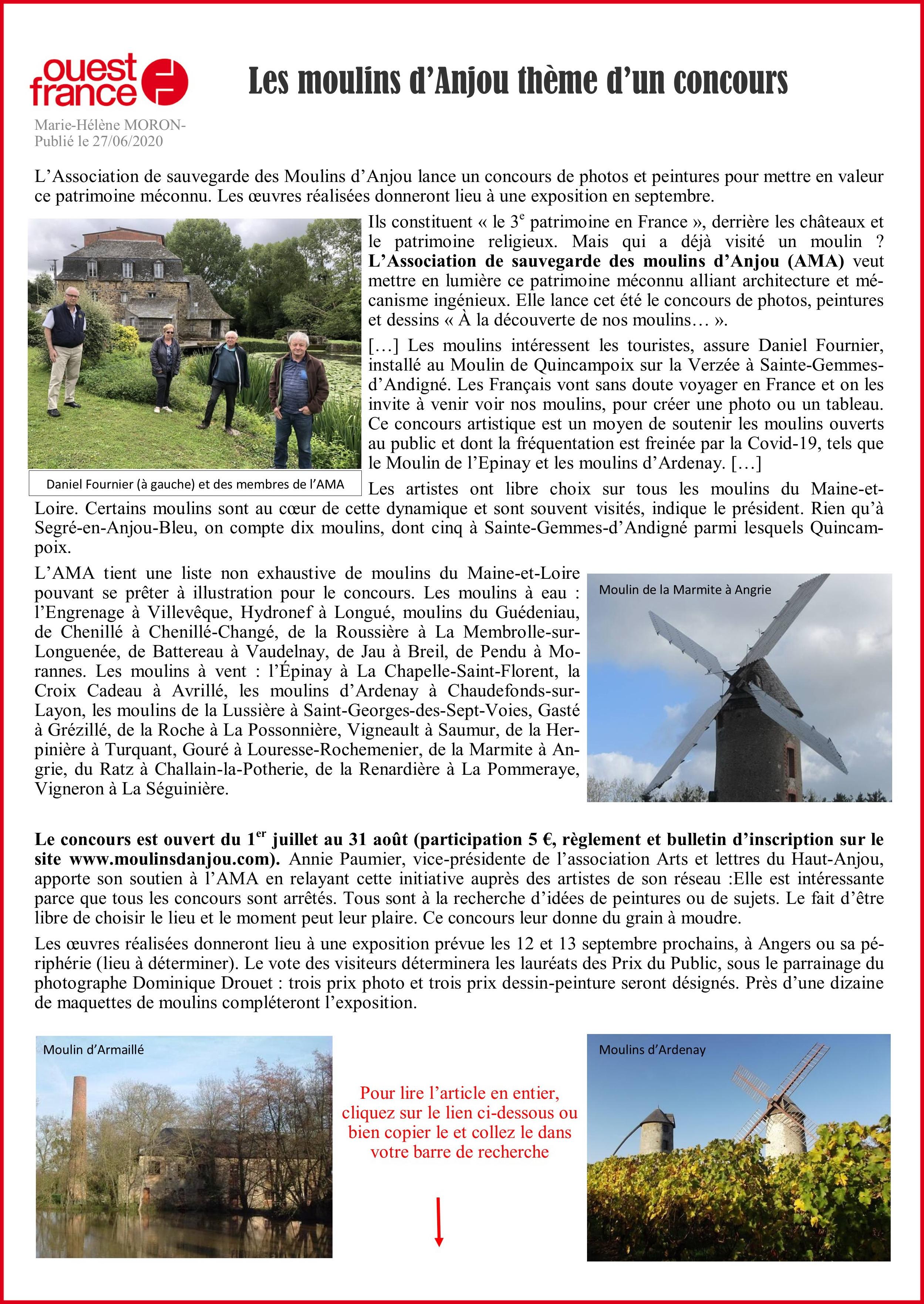 Concours photos moulins d'Anjou