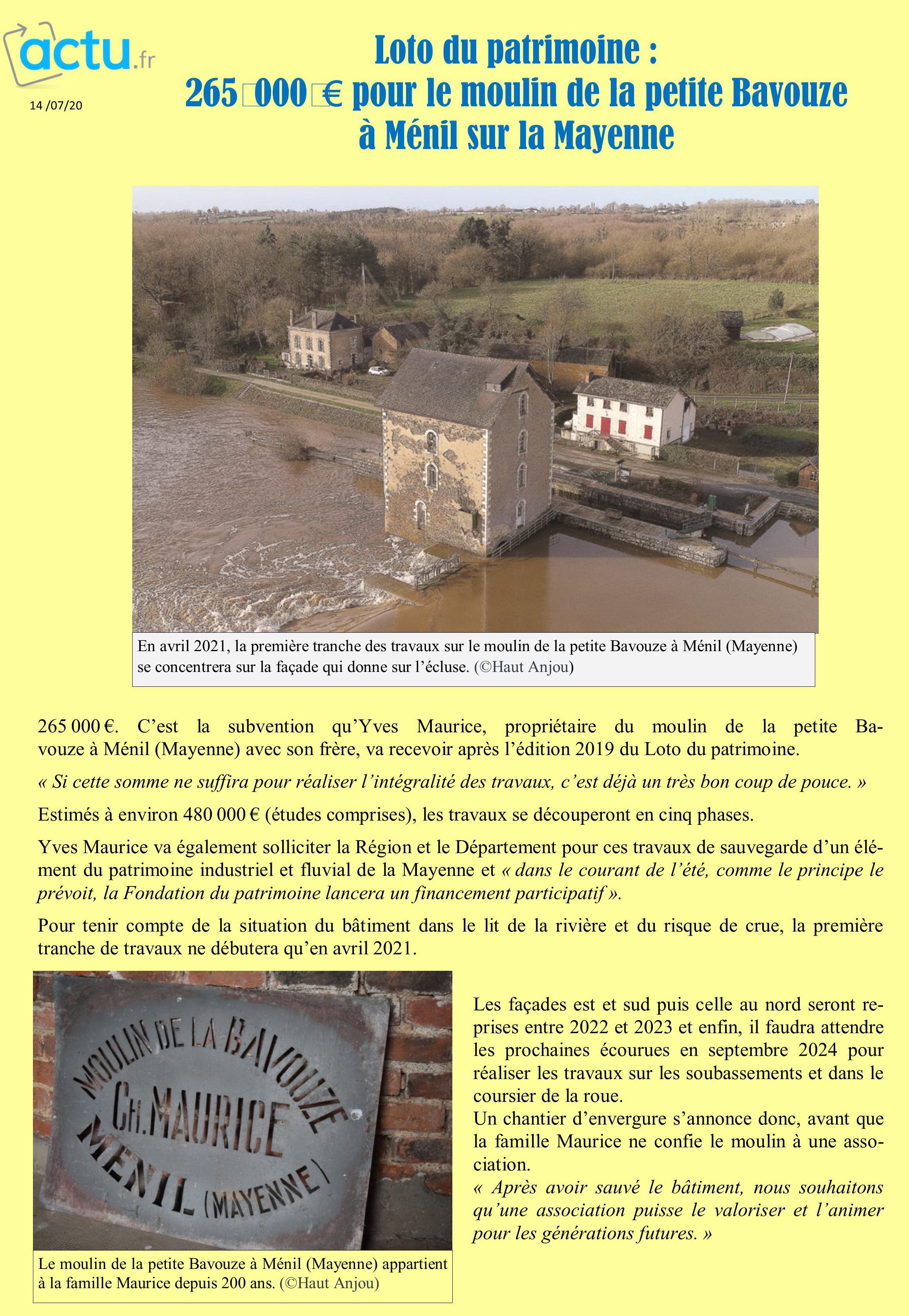 Loto patrimoine moulinMénil Mayenne