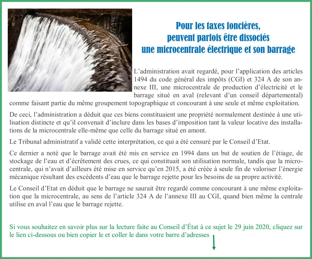 Taxes foncières_dissocier centrale et barrage