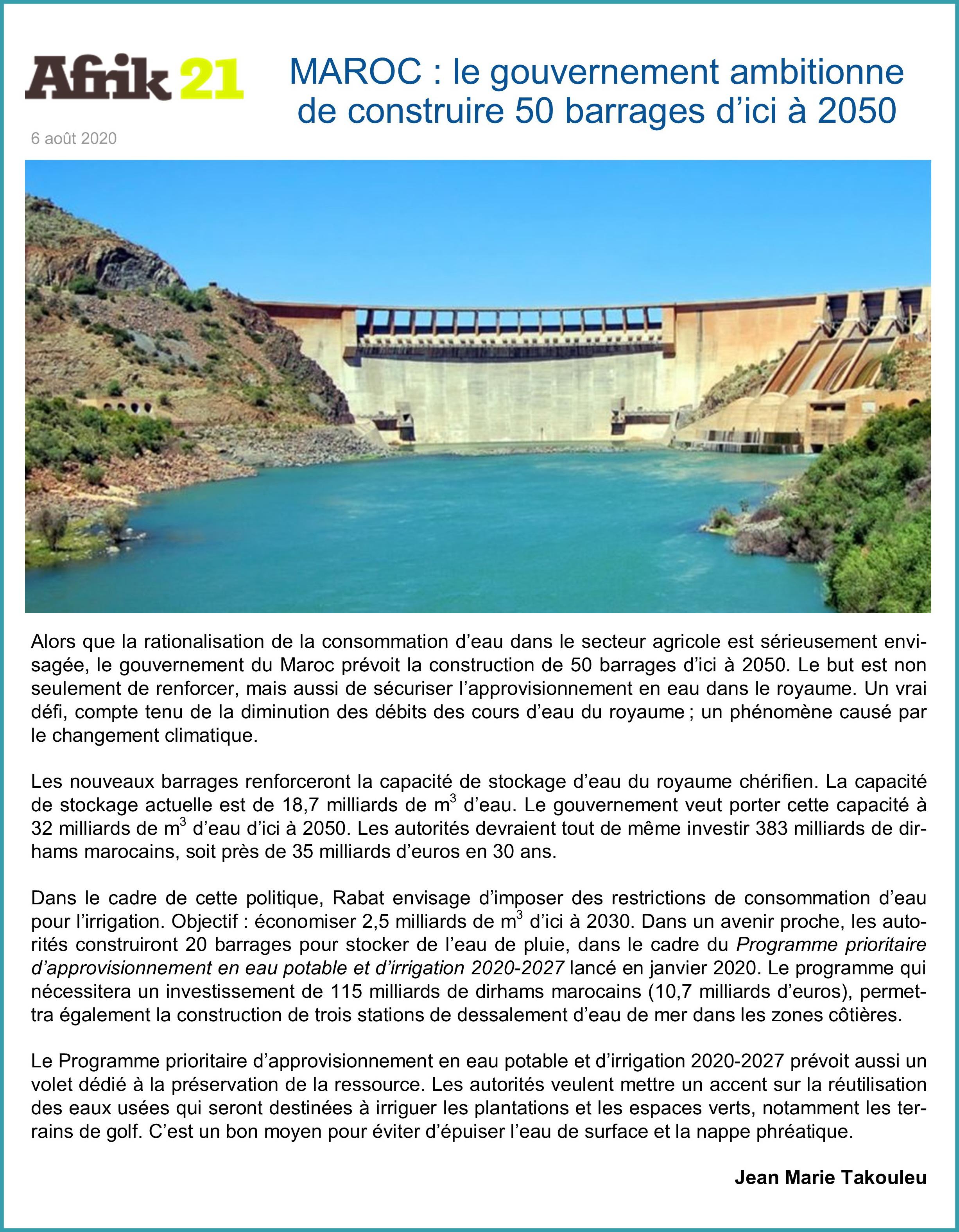 Maroc veut construire 50 barrages