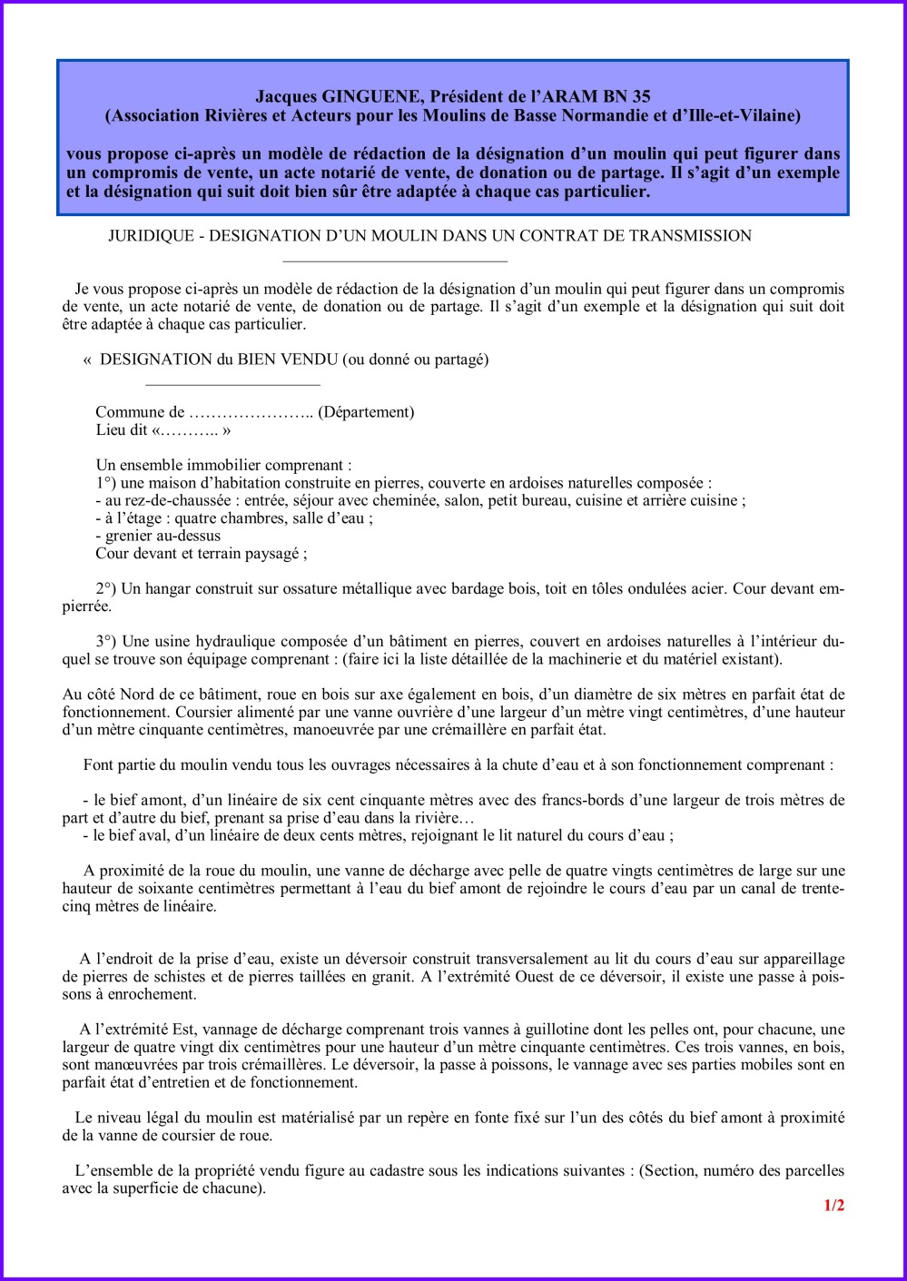 Désignation moulin dans contrat de vente - page 1