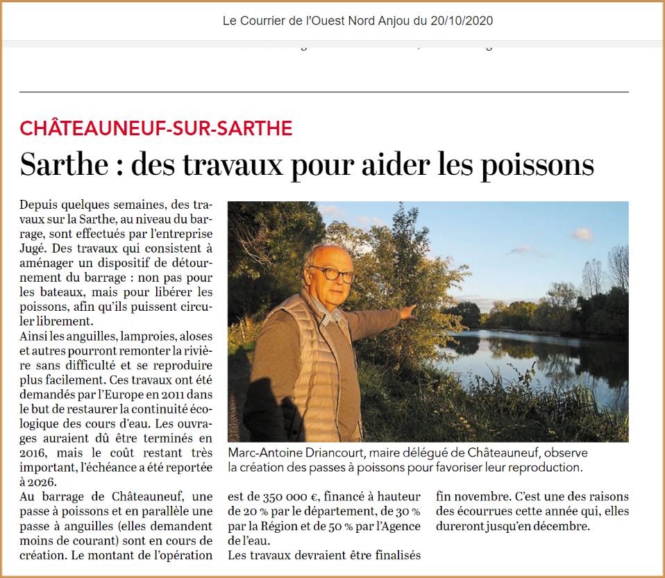 Passe à poissons à Chateauneuf sur Sarthe