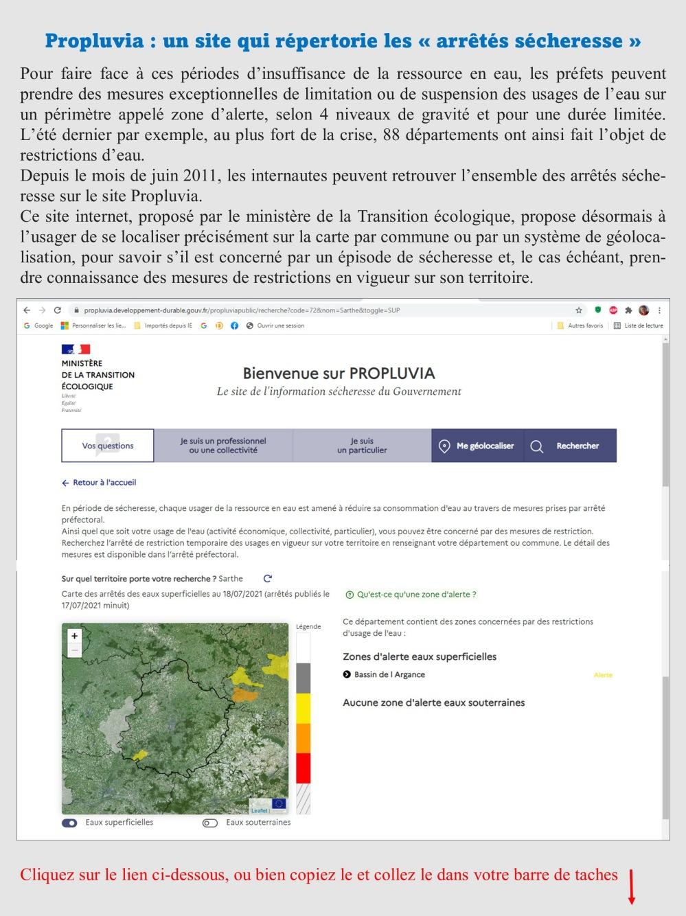 Propluvia site arrété sécheresse