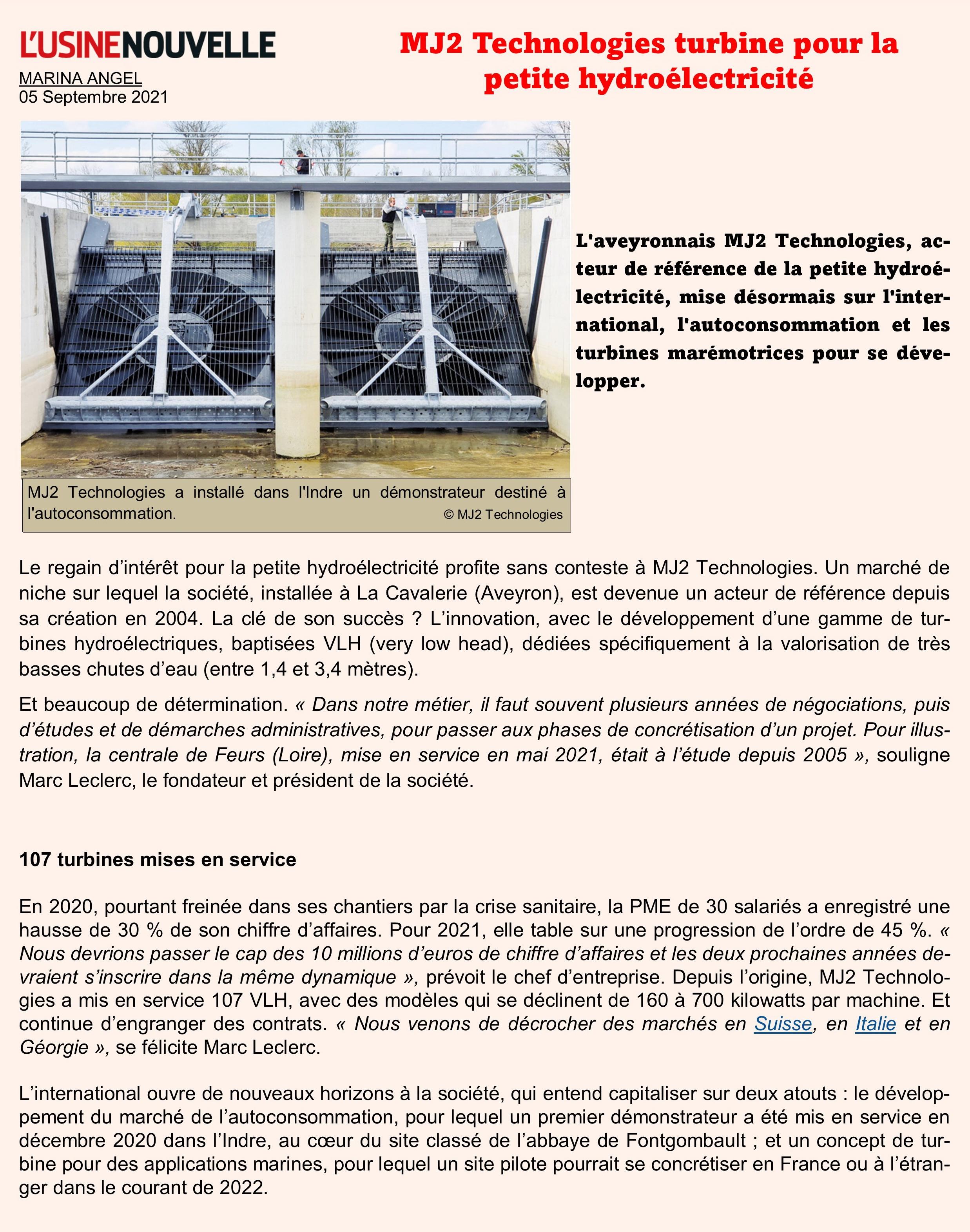 MJ2 turbine pour la petite hydro - Usine nouvelle
